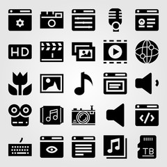 Multimedia vector icon set. quaver, speaker, sd card and keyboard
