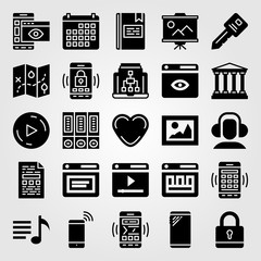 Essentials vector icon set. play button, play, map and calendar
