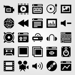Multimedia vector icon set. video camera, picture, photo and analytics