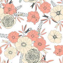 Hand drawn flowers. Vector seamless pattern