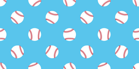 Baseball seamless pattern softball vector isolated illustration wallpaper background icon blue
