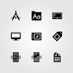 Web Design vector icon set. tablet, image, smartphone and font