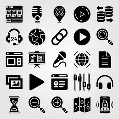 Essentials vector icon set. smartphone, database, placeholder and picture