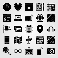 Essentials vector icon set. clipboard, broken link, placeholder and smartphone