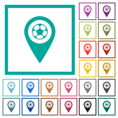 Stadium GPS map location flat color icons with quadrant frames