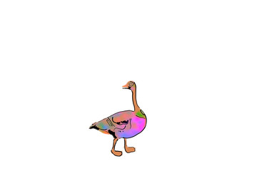 Illustration of a funny multi-colored goose with a long neck on a white background