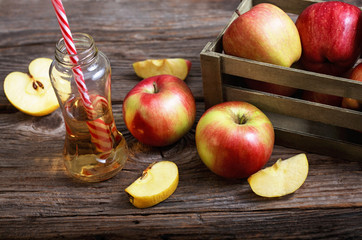 ripe apples and apple juice