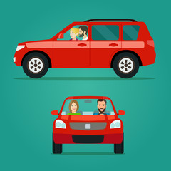 Red car two angle set. Car with couple side view and front view. Vector flat style illustration.