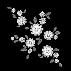 White lace flower embroidery patch. Fashion decoration stitched texture template. Ethnic traditional daisy field plant leaves textile print design vector illustration