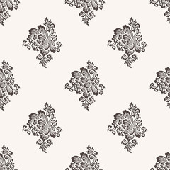 Seamless woodblock printed paisley pattern. Traditional oriental Indian ethnic ornament with peony flowers, taupe on beige background. Textile design.