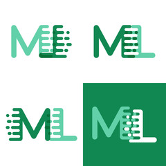 ML letters logo with accent speed in light green and dark green