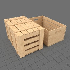 Set of two wooden crates