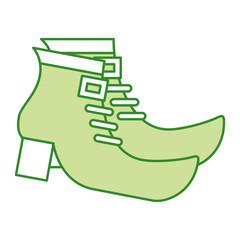 pair green boot shoes of leprechaun vector illustration