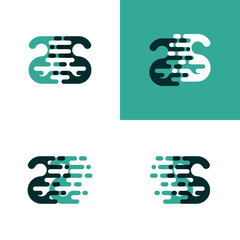 SS letters logo with accent speed in light green and dark green