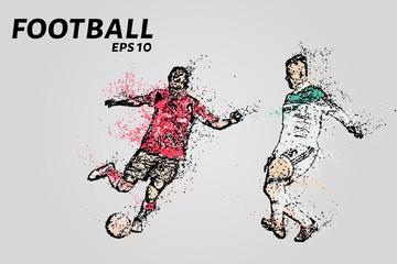 A soccer player dribbles of the opponent. Football of the particles
