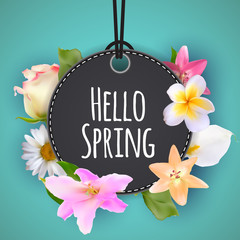 Hello Spring Banner Greetings Design  Background with Colorful Flower Elements. Vector illustration
