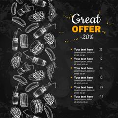Fast food vector hand drawn menu. Blackboard  junk food