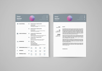 Resume Set with Gray Header 1