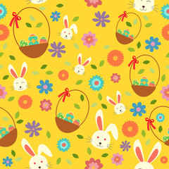 Easter Bunny Eggs and Spring Wallpaper Seamless Pattern Background
