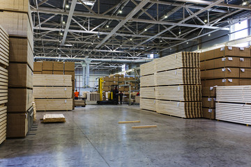 Modern production and storage room with lumber produced and ready for shipment.