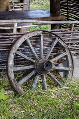 Garden decoration Old cart wheel