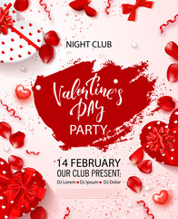 Valentine's Day party flyer. Beautiful backdrop with with gift boxes in heart shape, rose petals and serpentine. Invitation to nightclub.Vector illustration.