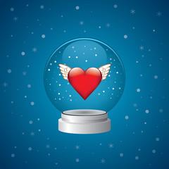 Snow Globe freedom Heart Wings Blue