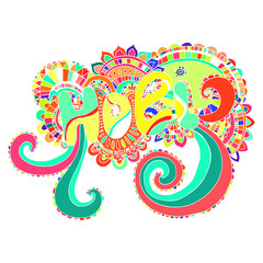Bright color word Holi mandala,to the Indian holiday.