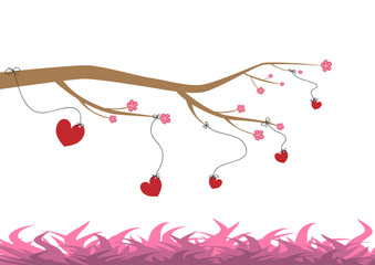 Happy Valentine's Day vector cards and lettering. Hearts hang on a flowering tree above the grass.