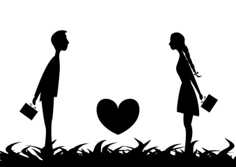 Young couple in love attracted to each other and hiding behind gift on Valentine's Day.Between the young people is the heart.