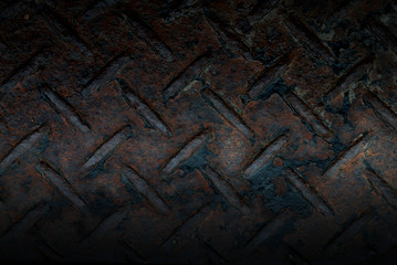 Wet rusty steel diamond plate texture for background