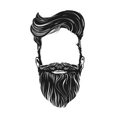 Hair and Beard, hipster character. isolated vector illustration