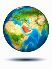 Saudi Arabia on Earth with white background