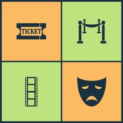 Vector Illustration Set Cinema Icons. Elements of Ticket, Fence with carpet, Film and Drama acting masks icon