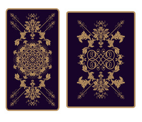 Vector template ornament for Tarot and playing cards, print