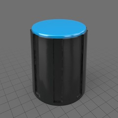 Tall black knob with blue top