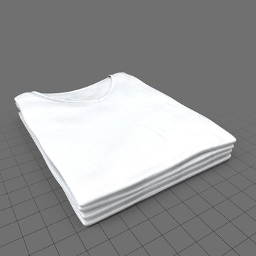 Stack of folded crew neck shirts without tags (womens)