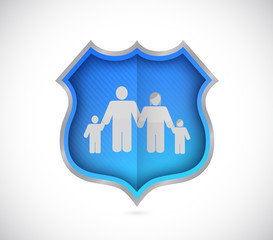 shield protecting family and house, insurance concept.