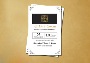 Filigree and Embellished Corners Wedding Invitation Layout 1
