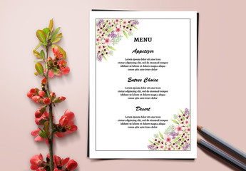 Wedding Menu Layout with Floral Corners 1