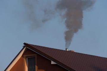 Fototapeta black smoke from the chimney obraz