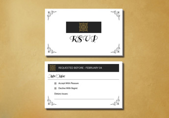 Filigree and Embellished Corners RSVP Card Layout 1