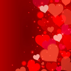 Love background with red hearts and lights. Valentine's day background. Vector illustration