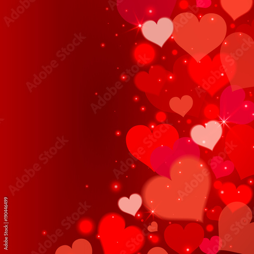 Love Background With Red Hearts And Lights Valentine S Day