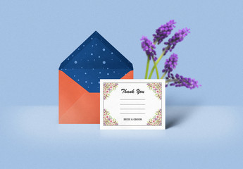 Wedding Thank You Card Layout with Floral Corners 1