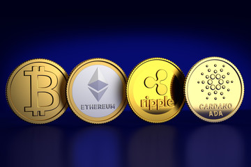 3D Render of substitutes of four of the cryptocurrencies with the highest market capitalization at February 2018: l.t.r. Bitcoin, Ethereum, Ripple, Ada (by Cardano) against dark blue background