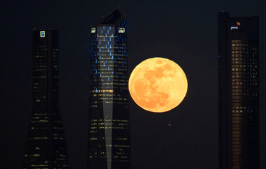 """A full moon """"supermoon"""" rises in between four towers in a skyscrapers area in Madrid"""