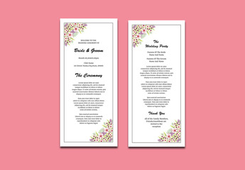 Wedding Program Layout with Floral Corners 1