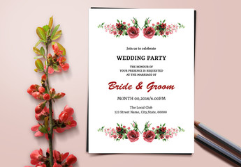 Wedding Invitation Layout with Watercolor Floral Header and Footer 1