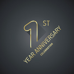 Anniversary 9th year celebration logo gold black greeting card